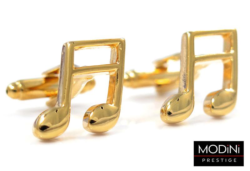 Złote spinki do mankietów - nuty