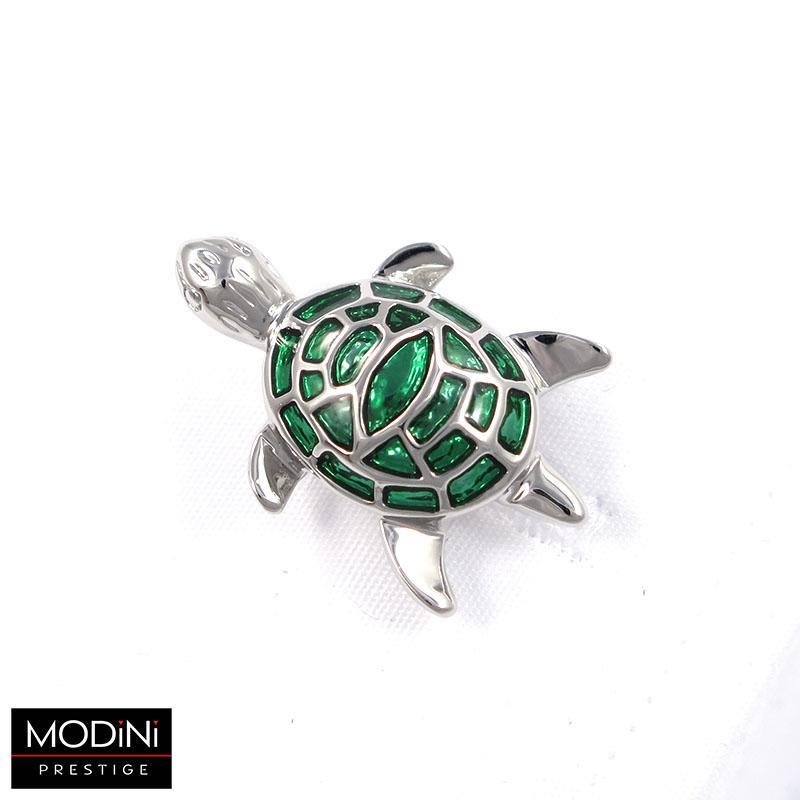 Srebrno-zielone spinki do mankietów - żółwie