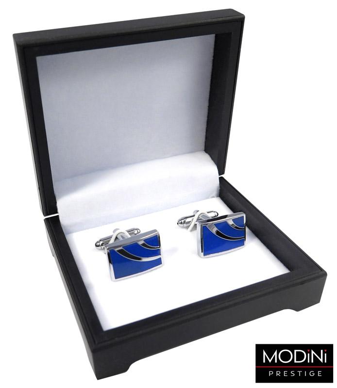 kobaltowe spinki do mankietów - pudełko