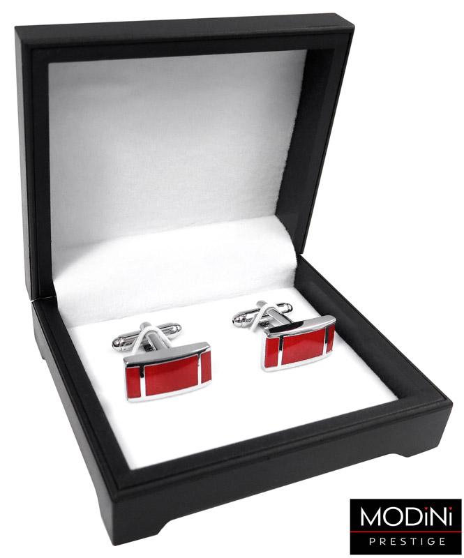 czerwone spinki do mankietów - pudełko