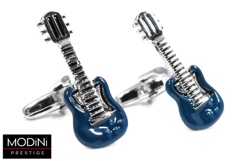 niebiesko-srebrne spinki do mankietów - gitary