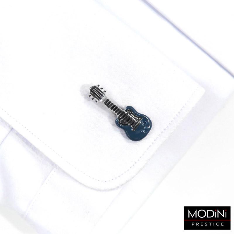 niebiesko-srebrne spinki do mankietów - gitara elektryczna
