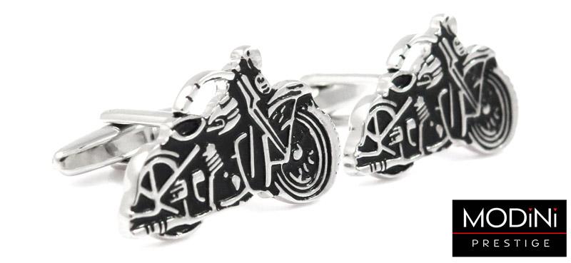 spinki do mankietów w kształcie motocykli