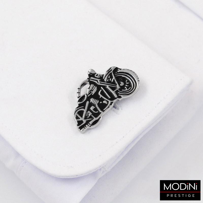 srebrno-czarne spinki do mankietów - motocykle