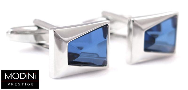 srebrne spinki do mankietów z niebieskim kryształem