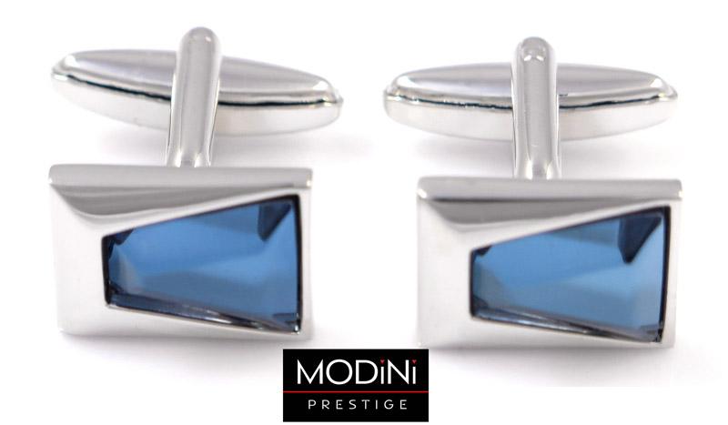 prostokątne spinki do mankietów z niebieskim kryształem