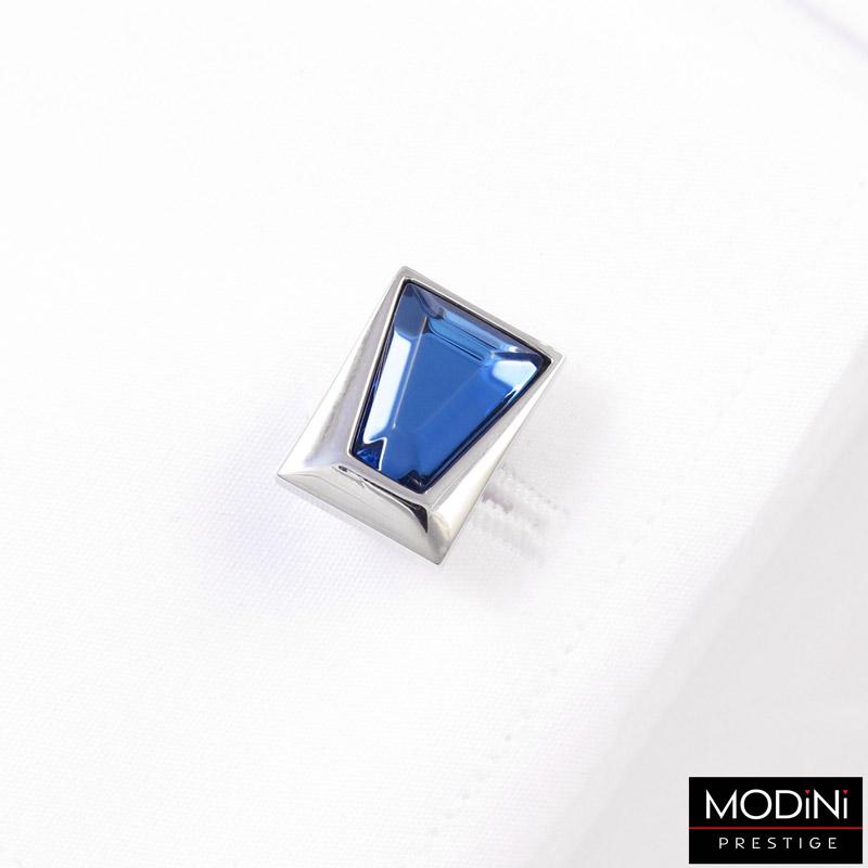 srebrne spinki do mankietów - niebieski kryształ