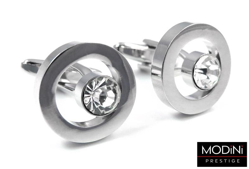 okrągłe spinki do mankietów z białymi kryształami