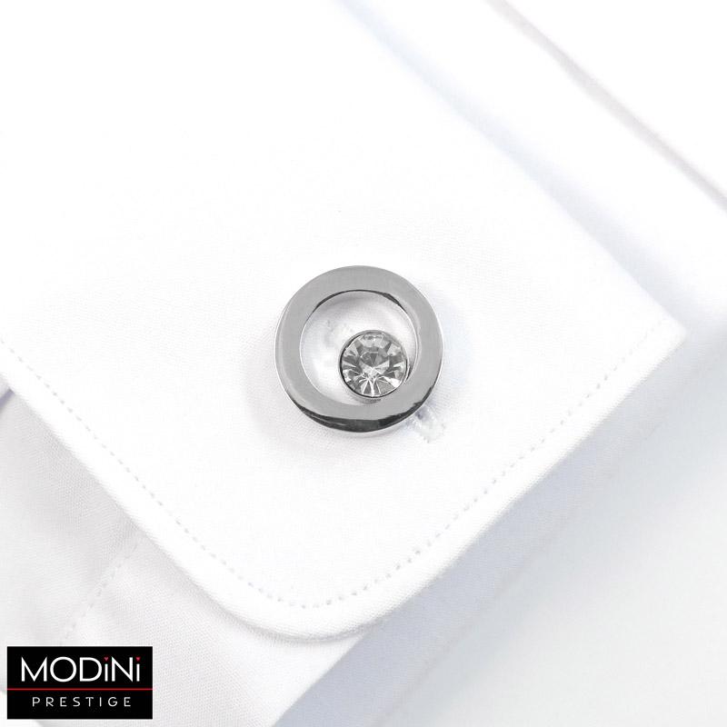 okrągłe spinki z białymi kryształami
