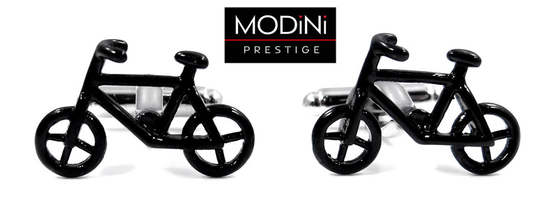 czarne spinki do mankietów - rowery