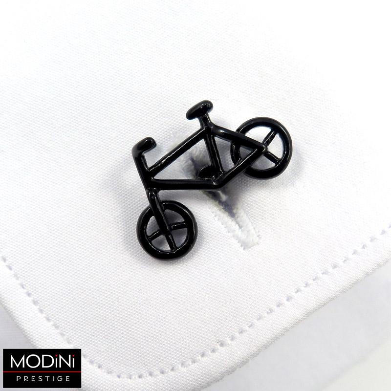 stalowe spinki do mankietów w kształcie roweru