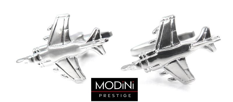 srebrne spinki do mankietów w kształcie samolotów