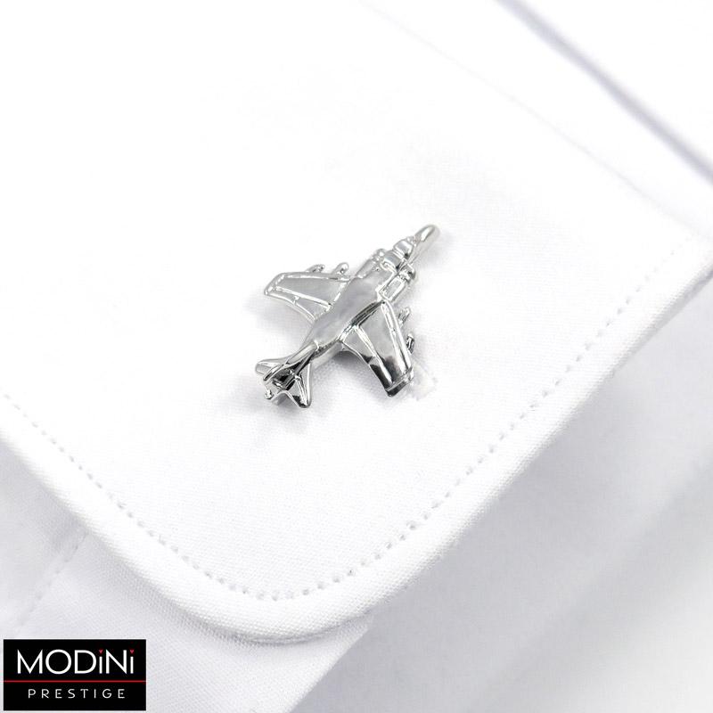 srebrne spinki do mankietów - samolot