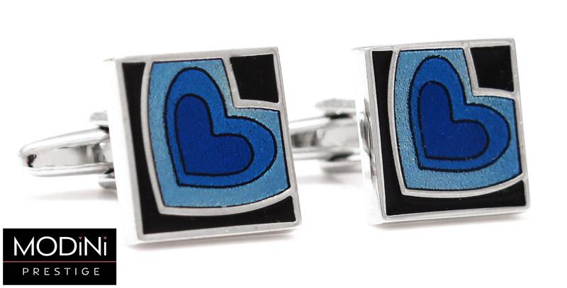 spinki do mankietów - niebieskie serca