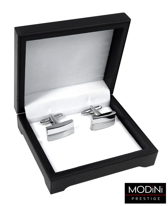 srebrne prostokątne spinki do mankietów - pudełko
