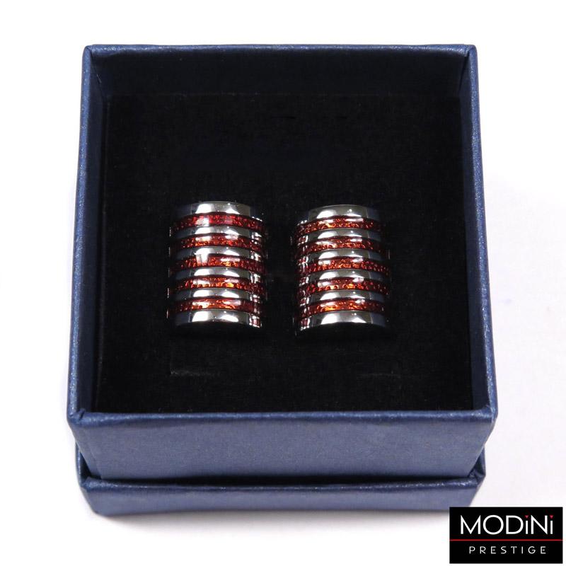srebrno-czerwone spinki do mankietów