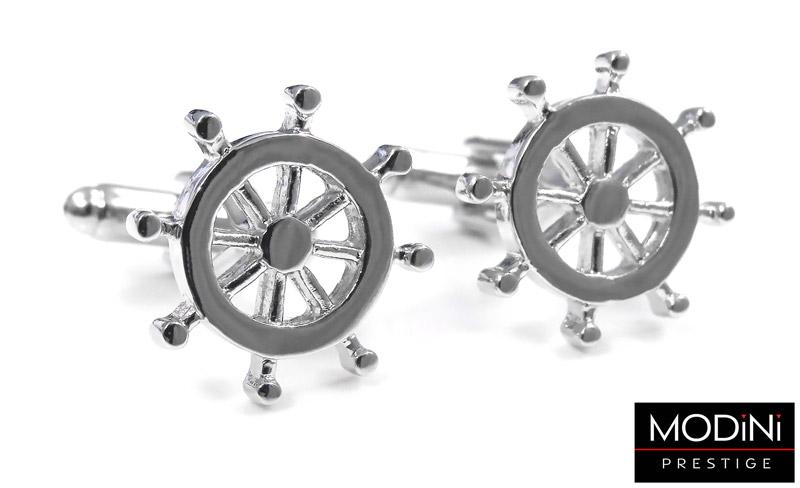 srebrne spinki do mankietów w kształcie steru
