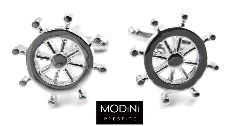 srebrne spinki do mankietów - koło sterowe