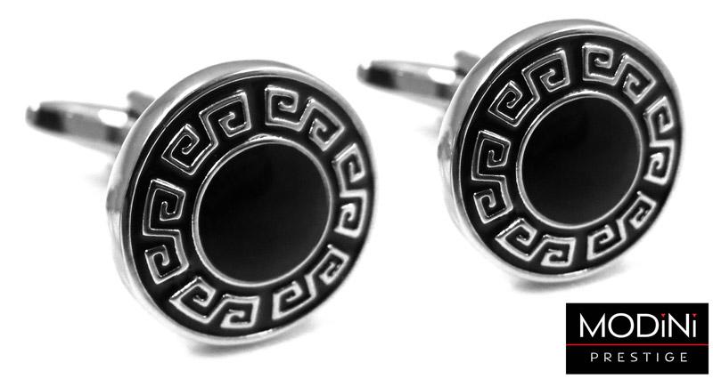 czarne okrągłe spinki do mankietów ze srebrnym wzorem