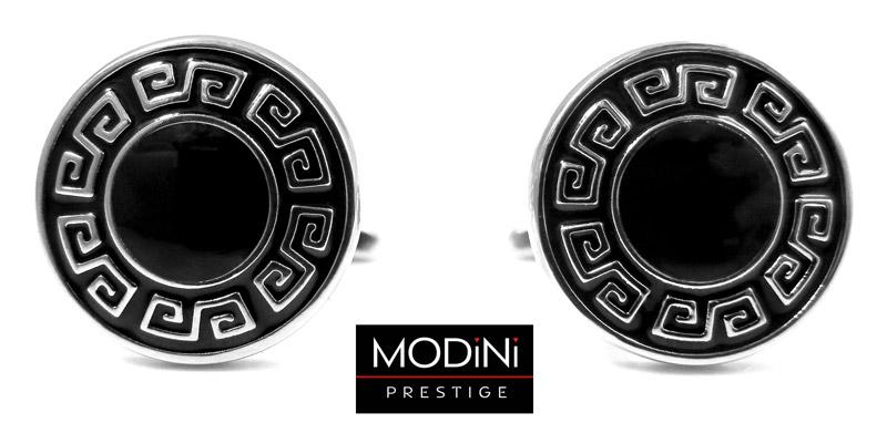 czarne okrągłe spinki - srebrny ornament