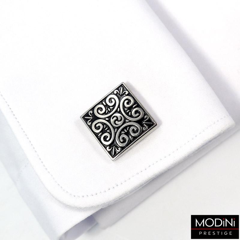 kwadratowe czarne spinki - srebrny ornament