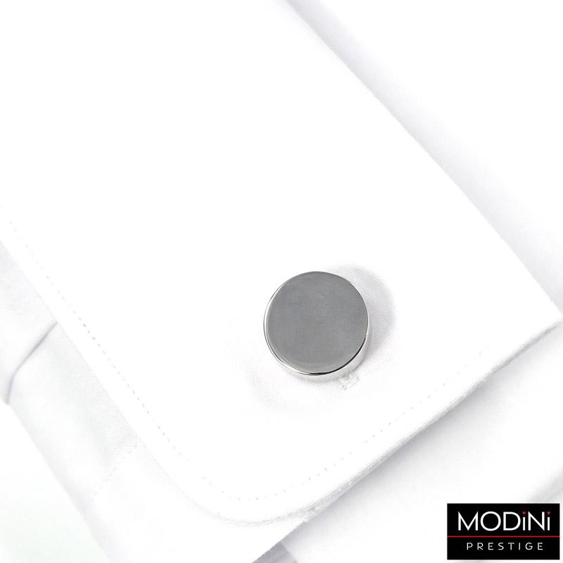 okrągłe spinki do mankietów w kolorze srebrnym