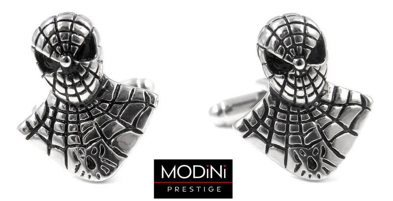 srebrne spinki w kształcie spidermana