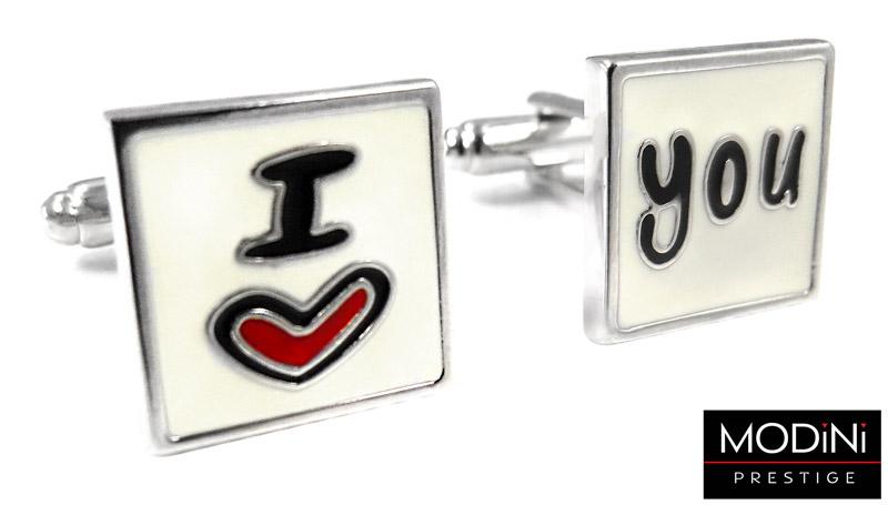 kwadratowe spinki do mankietów - I love you