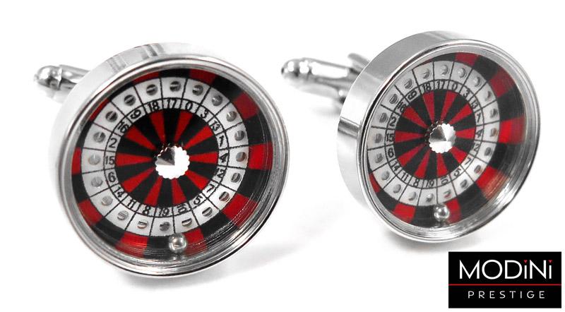 okrągłe spinki do mankietów - ruletka