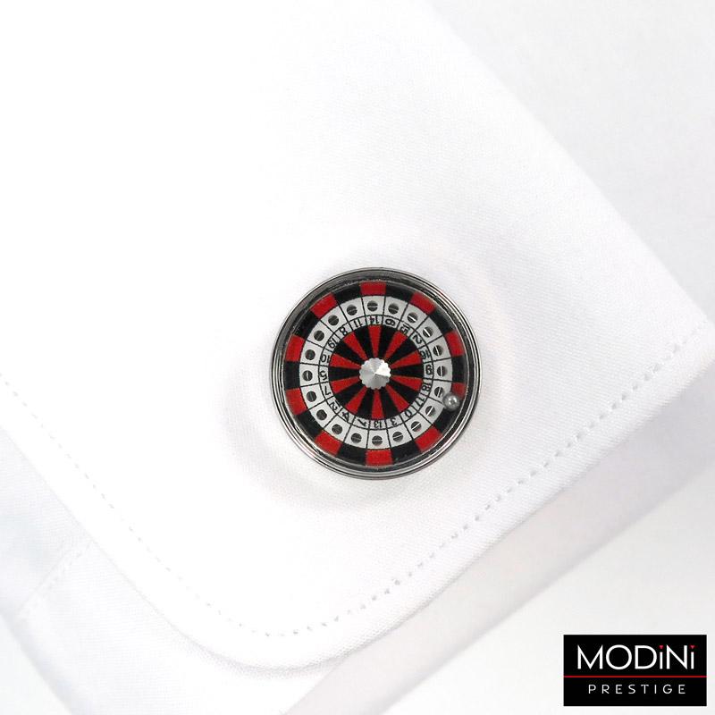 okrągłe spinki w czerwono-czarną ruletkę