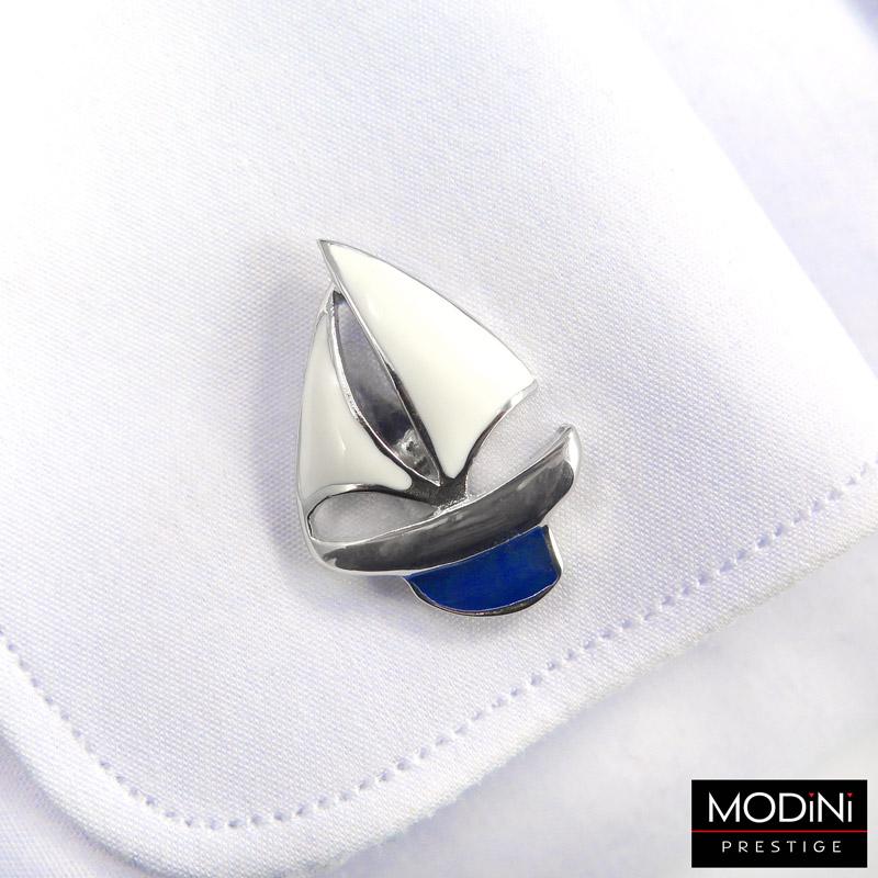 spinki do mankietów - statek z białymi żaglami