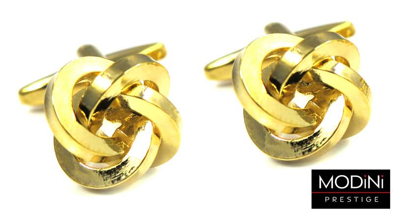 złote spinki do mankietów - węzełki
