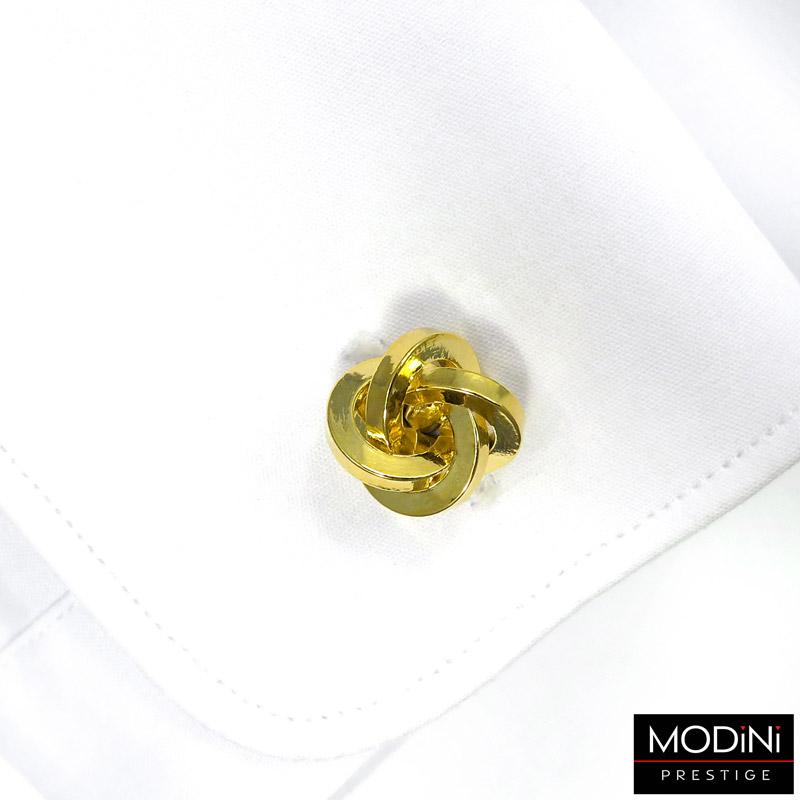 złote spinki do mankietów - węzeł