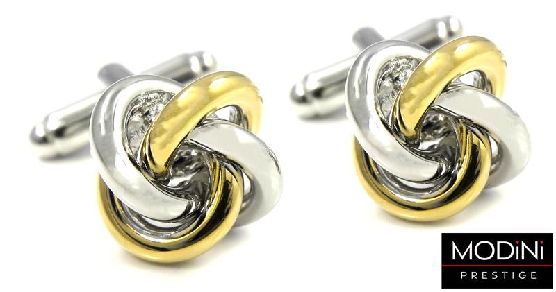 spinki do mankietów - złoto-srebrne węzełki