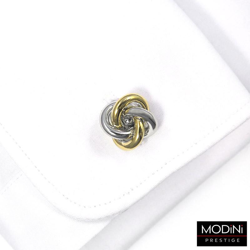spinki do mankietów - złoto-srebrny węzeł