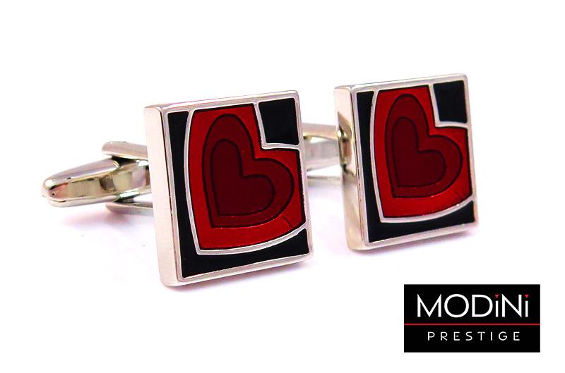 Kwadratowe spinki do mankietów - czerwone serce