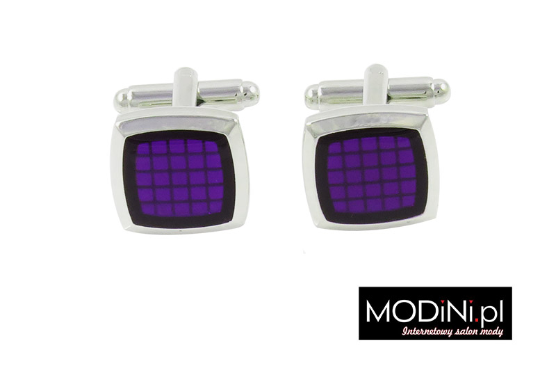 Srebrne spinki do mankietów - fioletowe kwadraty