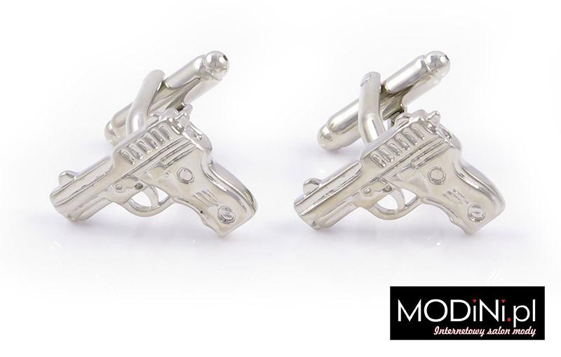 Srebrne spinki do mankietów - pistolety