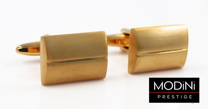 Złote spinki do mankietów z poziomą linią