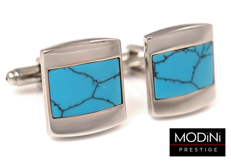 Srebrne spinki do mankietów - niebieskie kwadraty