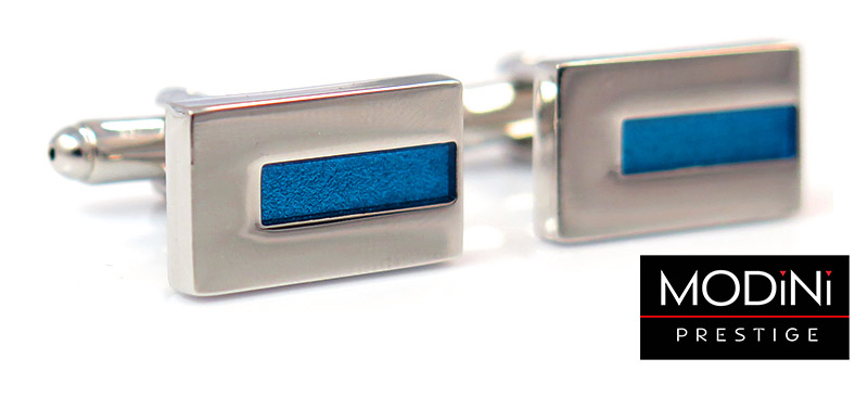 Prostokątne srebrne spinki do mankietów z niebieskim paskiem