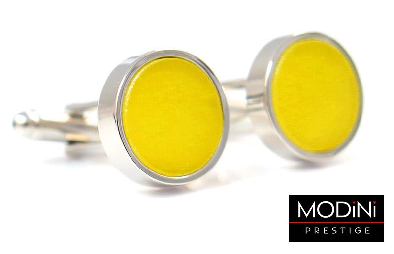 Srebrne okrągłe spinki do mankietów z żółtym oczkiem