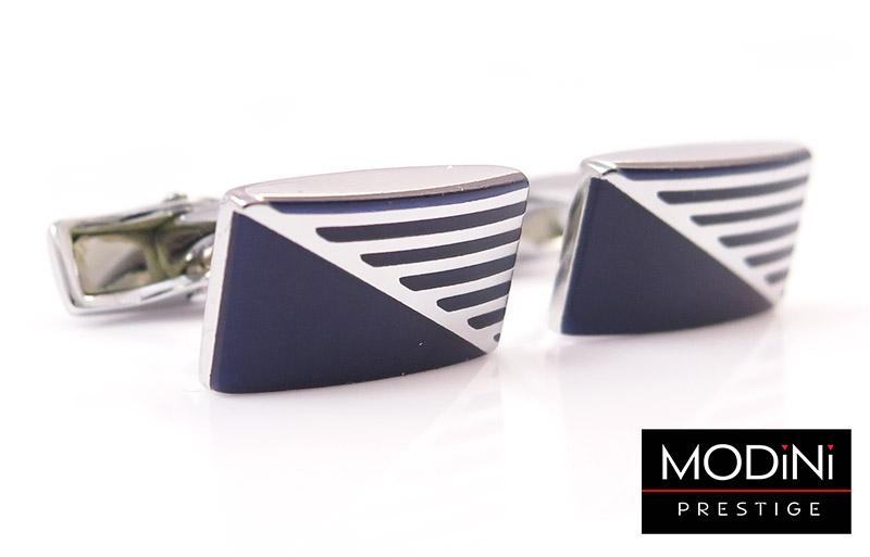 Prostokątne srebrno-niebieskie spinki do mankietów