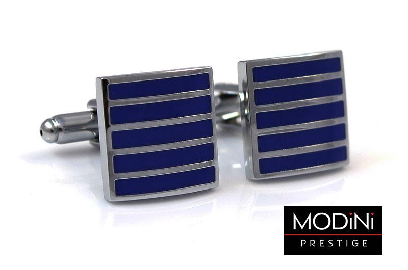 Kobaltowe spinki do mankietów - srebrne paski