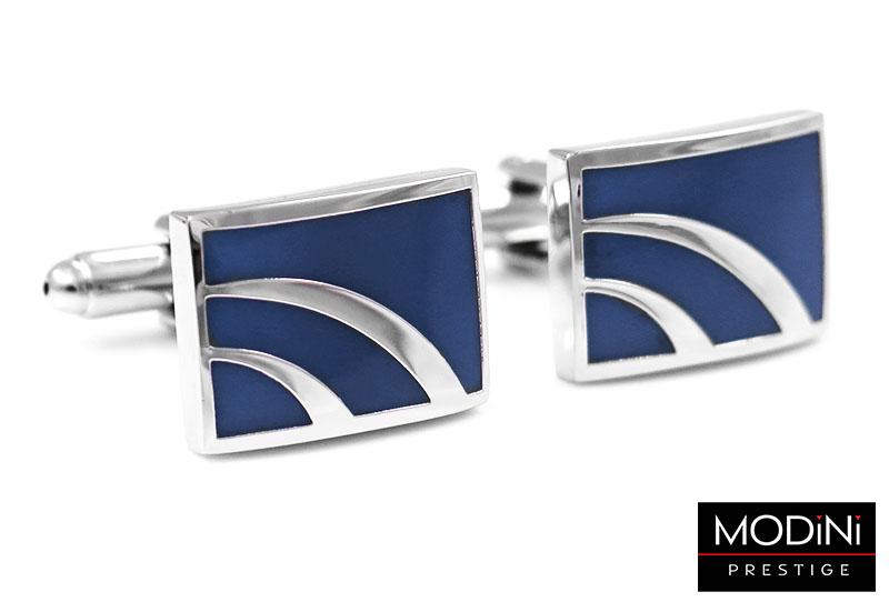 Kobaltowe spinki do mankietów - srebrne łuki
