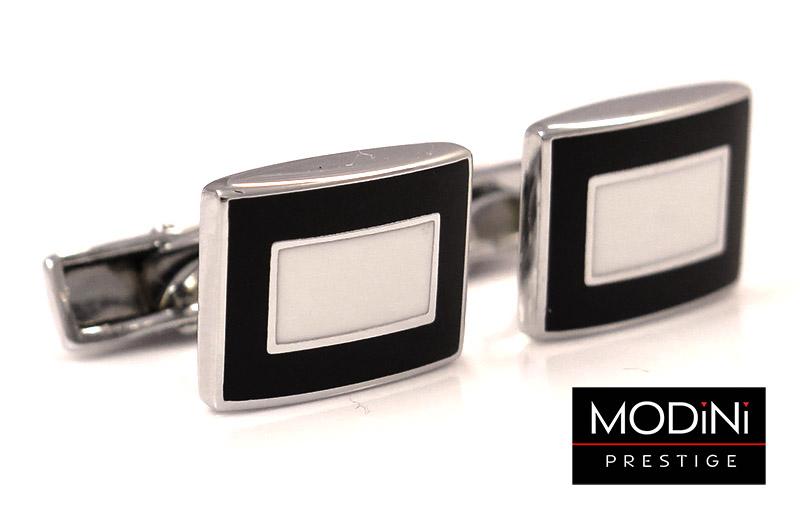 Czarne prostokątne spinki do mankietów z białym prostokątem