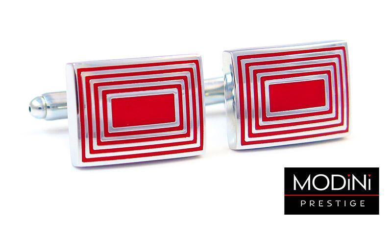 Czerwone spinki do mankietów - srebrne prostokąty