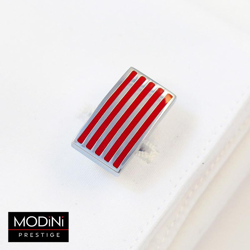 Czerwone spinki do mankietów - srebrne poziome linie