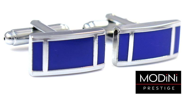 Kobaltowe prostokątne spinki do mankietów - srebrne pionowe linie