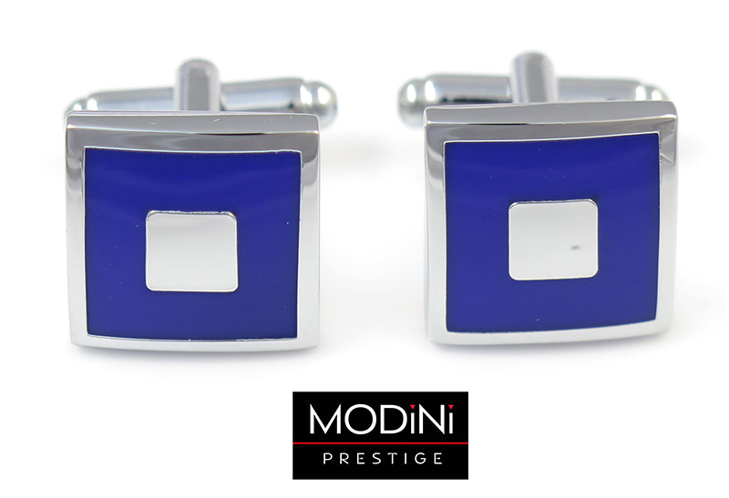 Kobaltowe kwadratowe spinki do mankietów - srebrny prostokąt N138